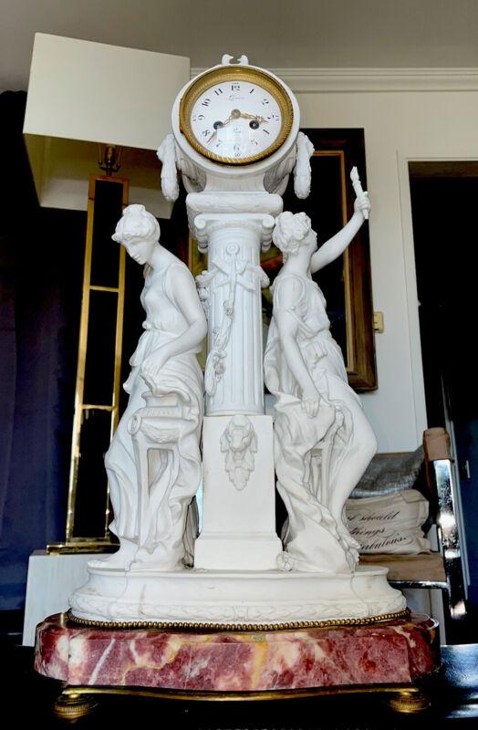 Large Antique French Bisque Statue Clock By Lenoir A Paris