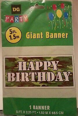 NEW! Giant 5' HAPPY BIRTHDAY Camo Camouflage Army Reusable Plastic - Camo Happy Birthday