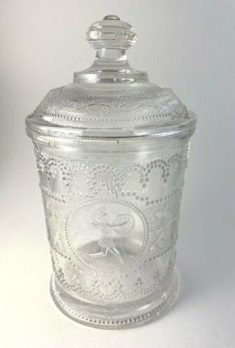 EAPG Adams Minerva Roman Medallion Pickle Jar with Lid