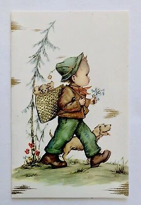 Vintage Christmas Card Boy Child Puppy Dog Gold Flower Tree Hat Basket Boot Bow