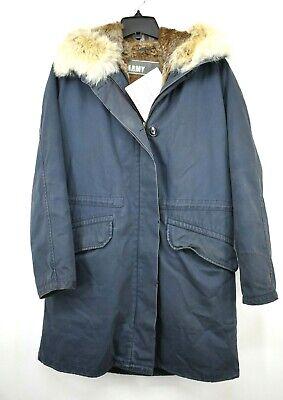 Yves Salomon Dark Blue Parka Jacket Fur Lined Zip & Button Front Hooded 36