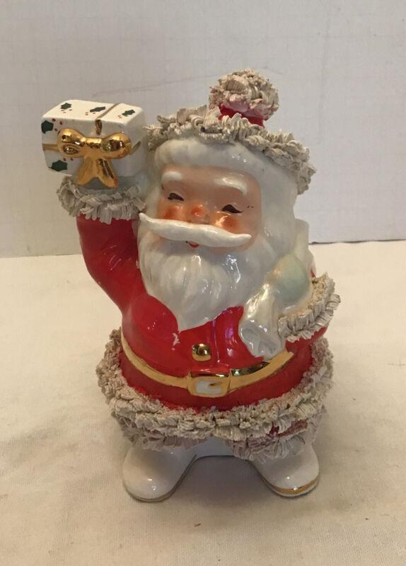 Vintage Inarco Santa Claus Planter Spaghetti Trim LABEL Gold Trim
