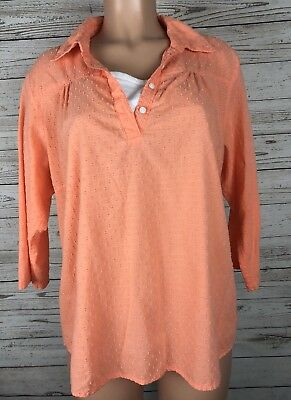 The Country Store Catalog XL Orange Embroidered Dots Blouse Shirt Top i3