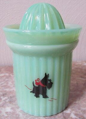 Measuring Cup & Reamer w/ Scottie Scotty Dog Scottish Terrier Jade Green Glass
