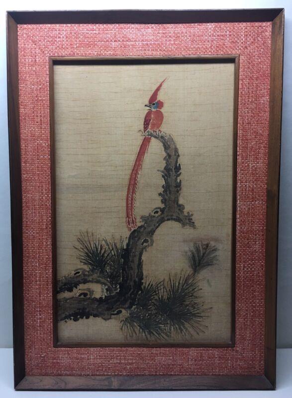 Vintage Mid Century Modern 1950 Original Art Batik Teak Framed Bonsai Bird