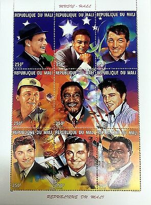 1996 Mali Famous Musicians Stamps Sheet Of 9 Sinatra Dean Martin Elvis Crosby