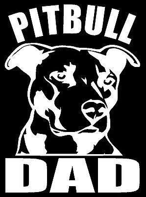 Dad Decal Sticker (PITBULL DAD Vinyl Decal Sticker Car Window Bumper Wall I Love My Rescue Dog )