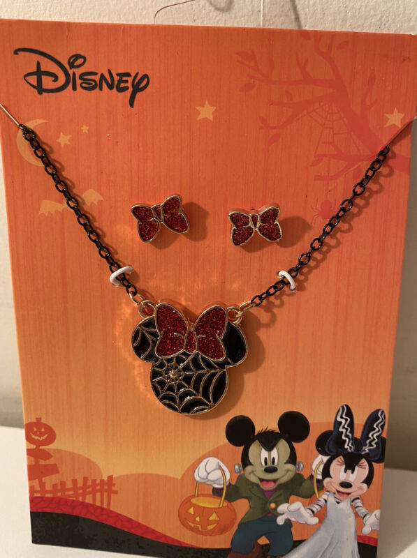 Disney Halloween Minnie Mouse Bow Spider Web  Necklace Earring Jewelry Set NEW