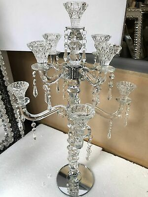 Crystal Clear Crystal Candle (8 Arm Clear Crystal Candelabra Weddings Candle Holder 60cm votive lamp glass )