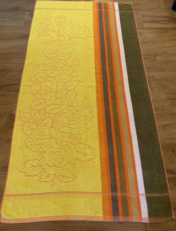 Vtg Sea King Retro Yellow Orange Brown Beach Towel with Textured Rose Design