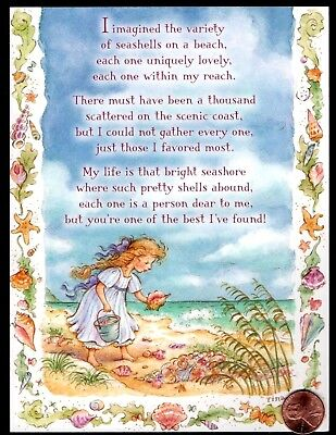 Beach Ocean Girl Conch Shell Blue Sky Sand Waves -  Friendship Greeting Card New (Beach Greeting Cards)