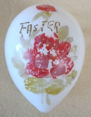 Vintage Large GLASS White Hand Painted EASTER EGG (TH1569)