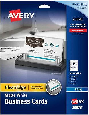 Avery Printable Business Cards Inkjet Printers 90 Cards 2 X 3.5 Clean Edge