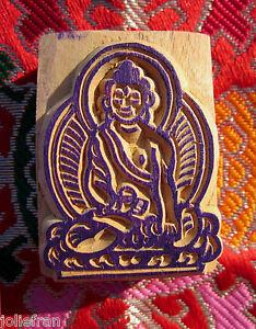 RARE HAND-CARVED SOLID WOOD Tibetan Buddhist BUDDHA RUBBER STAMP ART NEPAL NEW