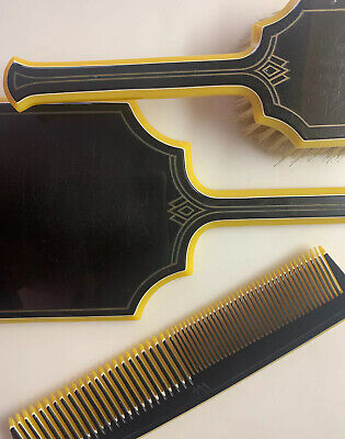 Fabulous Art Deco Dupont Pyralin Black 3 Piece Vanity Set Mirror Brush & Comb