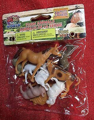 Assorted Farm Animals Figure Toy Play-Set Plastic - 10 Pc - 1