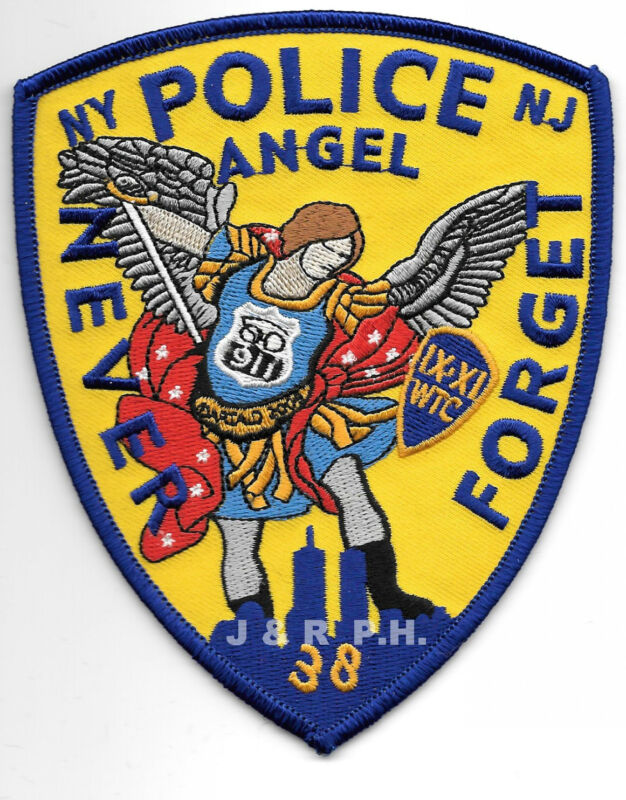 """Tribute - NY/NJ  """"Never Forget - Angel"""" (4"""" x 5"""" size)  shoulder police patch"""