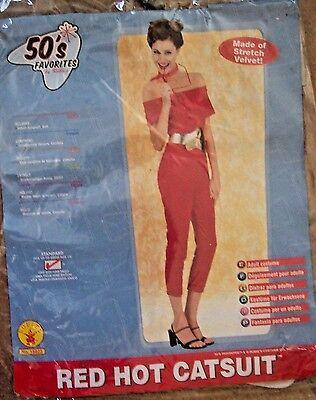 Red Hot Cat Suit 50's Costume velvet std jumpsuit devil pinup Halloween capris S - Devil Cat Costume