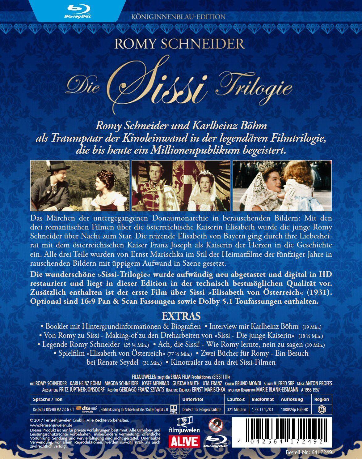 Sissi Trilogie (1-3) - Königinnenblau Edition - mit Romy Schneider [3 BLU-RAY's]
