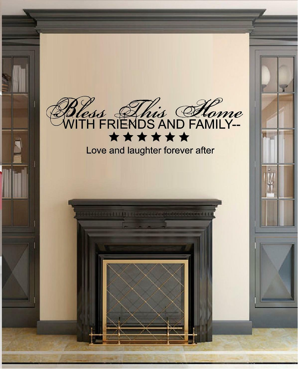 Bless This Home Italic Vinyl Wall Decal Sticker Home Decor F