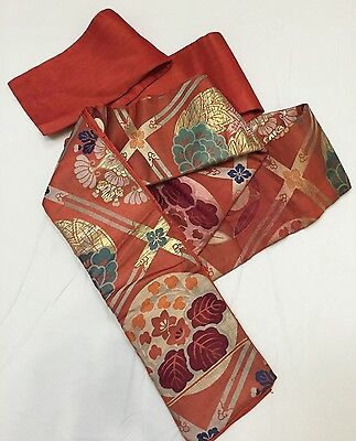 Vintage Japanese Obi For Kimono, Silk, Red-Orange - So Beautiful! (RF307)