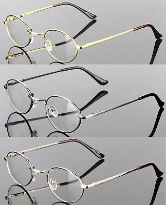 New Mens Womens Clear Lens Eye Glasses Retro Metal Frame Oval Fashion Optical (Optical Glasses Frames)