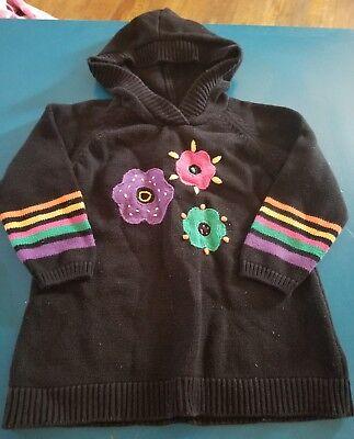 Hanna Andersson Girls Black Hoodie Hooded Sweater Top Flowers Sz 110/5