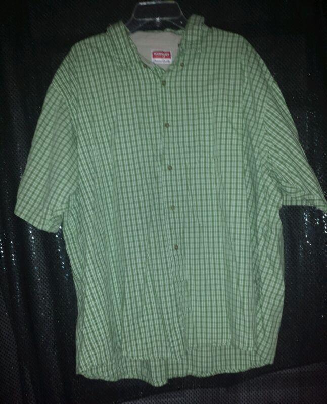 NWOT WRANGLER PREMIUM QUALITY Green Plaid Short Sleeve Shirt 3XL