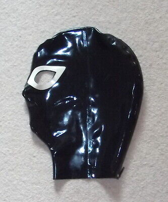 Latex Rubber Quality Fitted Hood 0.5mm  BLACK Rear zip - Eyes & Nose S - XL New