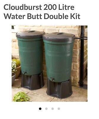 2x200L Cloudburst Garden Water Butt Kit w/ Child Safe Lid, Diverter, Tap & Stand