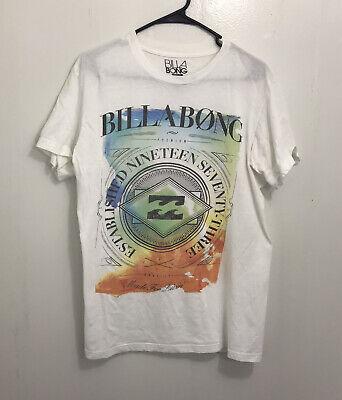 Billabong Mens Medium White Graphic Tee Short Sleeve T-Shirt