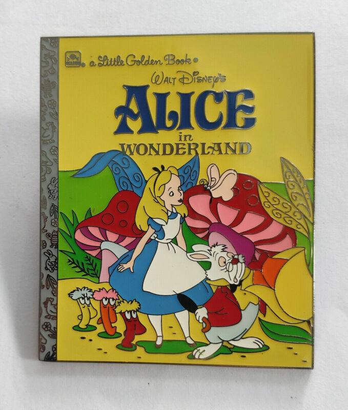 PIN ALICE IN WONDERLAND LITTLE GOLDEN BOOK JUMBO FANTASY WHITE RABBIT MUSHROOMS