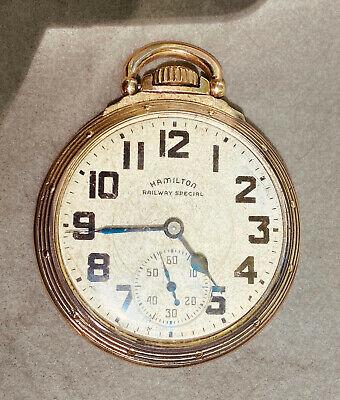 HAMILTON RAILWAY SPECIAL 992-B POCKET WATCH 21 JEWELS 10k GOLD FILLED