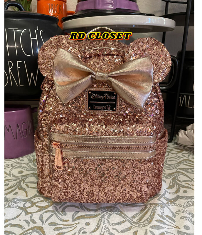 Disney Loungefly Briar Rose Gold Mini Backpack. NWT