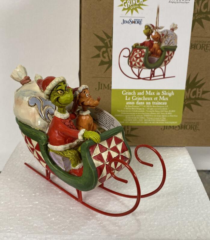 Jim Shore Grinch Max Santa Sleigh Presents Christmas Ornament NEW
