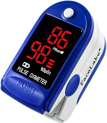 Facelake Fl400 Pulse Oximeter With Carrying Case Batteries Blue