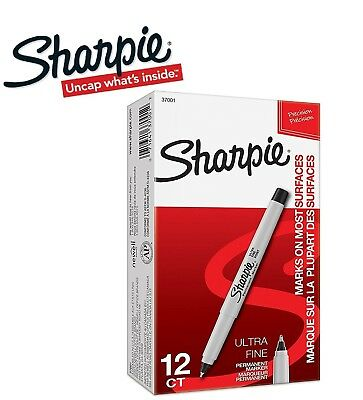 Sharpie Ultra Fine Black Blue Red Yellow Permanent Marker Pen 12 Pack Box