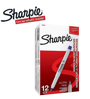 Sharpie Ultra Fine Blue Permanent Marker Pen 12 Pack Box Genuine Uk Stock