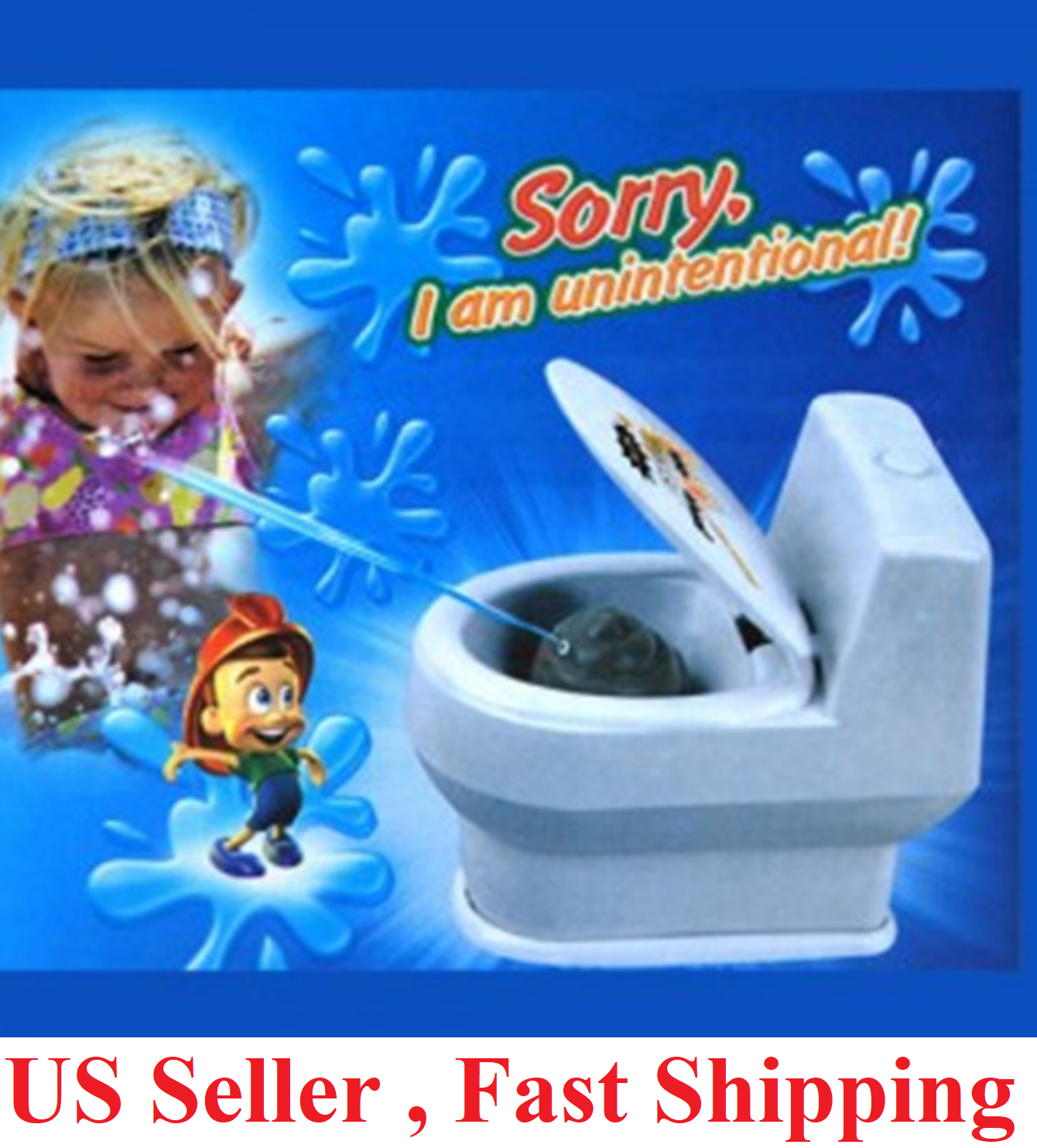 Hilarious Best Prank Gag Gift toilet with 3D Poo Emoji Lift Seat to Spray Water Greeting Cards & Party Supply