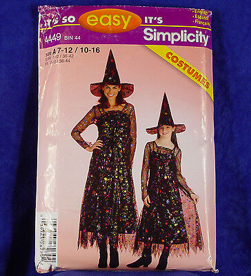 SIMPLICITY PATTERN 4449 MISSES & GIRLS WITCH COSTUMES ADULT 10-16 CHILD 7-12