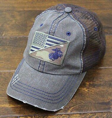 Usmc United States Marine Corps   Ega   Us Flag Patch Mesh Hat Brown   Navy