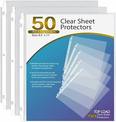 50pcs Clear Sheet Page Protectors Letter Size Plastic Sleeves For 3 Ring Binders