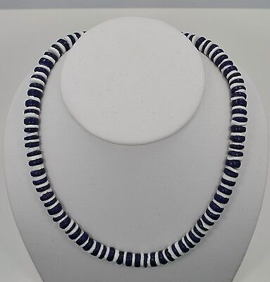 Fashion Jewelry Coco Beads - White Puka Shell Necklace with Blue coco beads 10