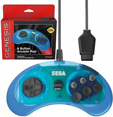 Retro-Bit Official Sega Genesis Controller 6-Button Arcade Pad - Clear Blue