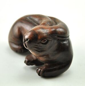 Vintage Rabbit Bunny Rest Natural Solid Wood Tree Hand Carved Carving Figurine