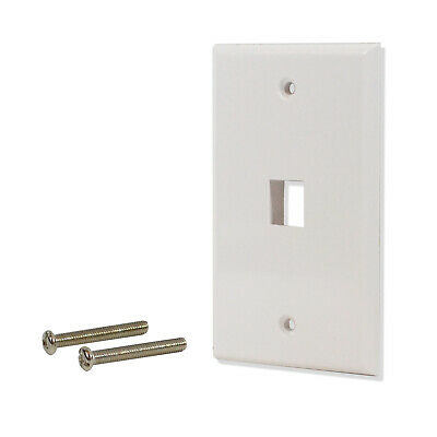 5 Pack Lot 1 port Hole Keystone Jack Wall Plate Smooth Surface White 1 Port White Wall Plate