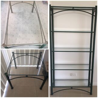 Wrought iron glass topped tables and matching shelves