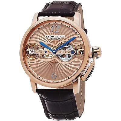 Stuhrling Doppler Men's Brown Calfskin Stainless Steel Case Watch 729.04