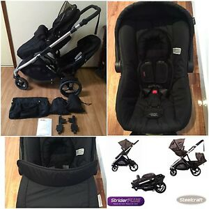Steelcraft Strider Plus DOUBLE STROLLER & CAPSULE Southport Gold Coast City Preview
