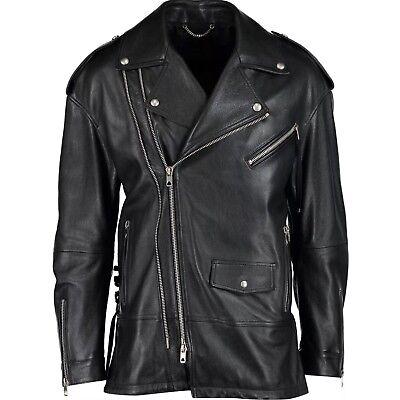 £1,500 Runway DIESEL Black Gold Biker Cowhide Leather Jacket Made in Italy